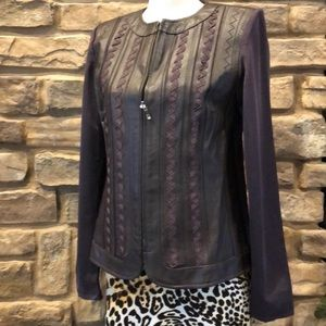 Leather embroidered zip up jacket size small 6-8